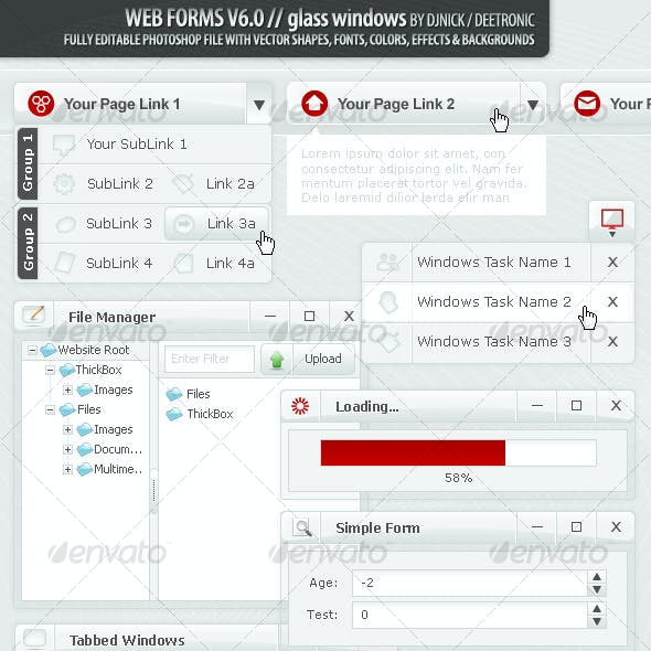 Web Forms and Windows - Glass Windows Style PSD