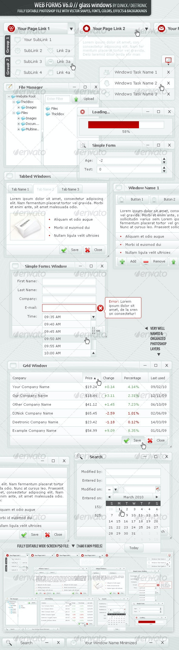 Web Forms and Windows - Glass Windows Style PSD - Forms Web Elements