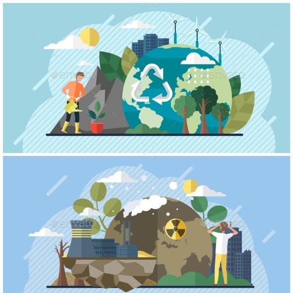 Set of Illustrations on Theme of Environmental