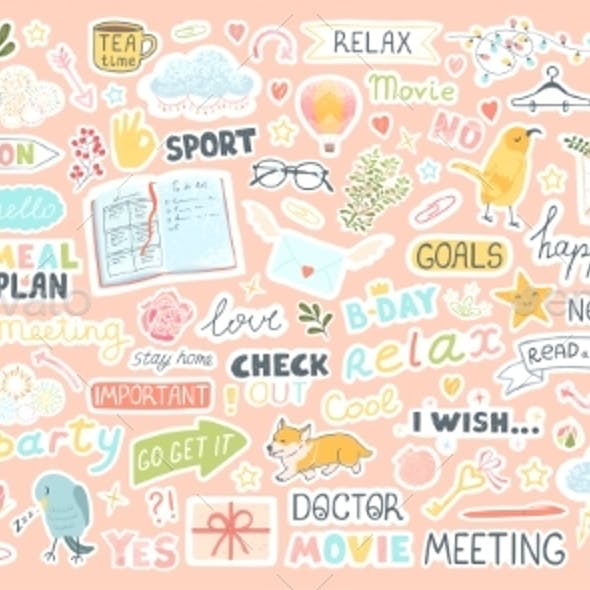 Set with Cute Stickers for Daily Planner and