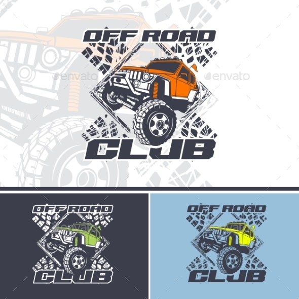 Off Road Club Logo Offers in Three Variations - Man-made Objects Objects