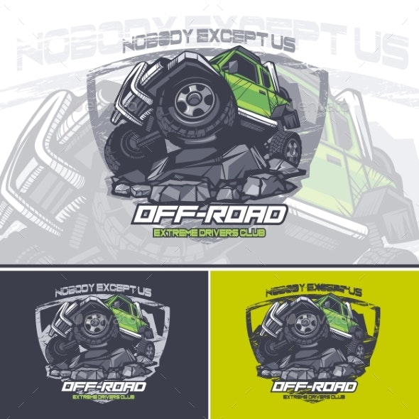 Green Off Road Car Logo on Top of a Mountain  - Man-made Objects Objects
