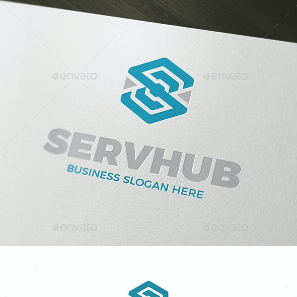 Serv Hub Abstract Cube S Symbol Logo