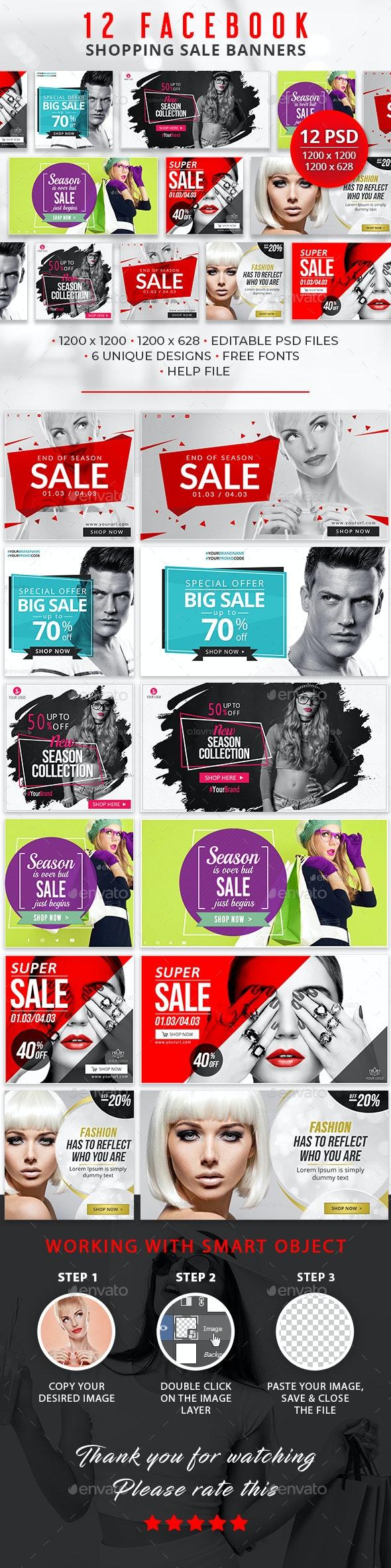 12 Facebook Sale Banners - Social Media Web Elements
