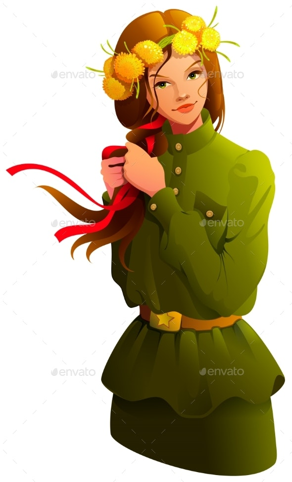 Victory Day Russian Girl Young Woman in Soldier Uniform  - People Characters