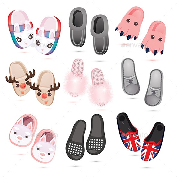 House Slippers Icon Set. Collection of Cartoon Female, Male and Children's Slippers Isolated on Whit - Objects Vectors
