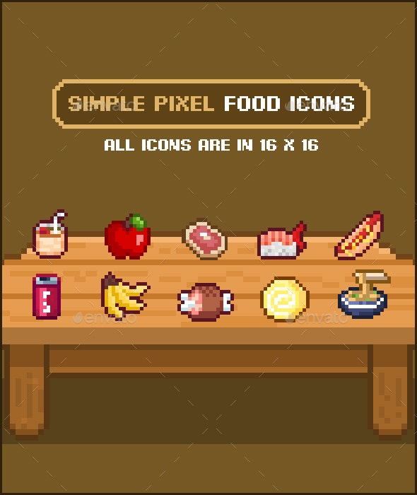 Simple Pixel Food Icons - Sprites Game Assets
