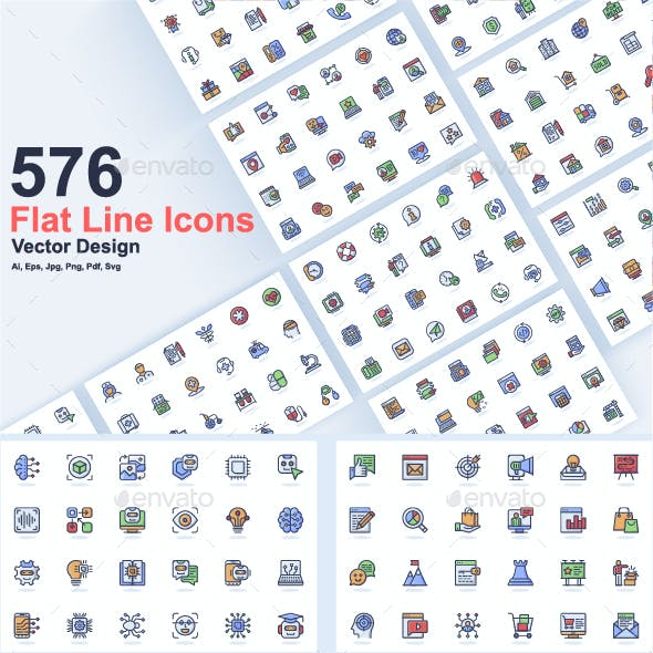 Flat Line Web Icons Pack