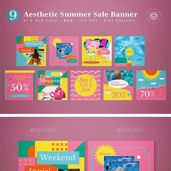 Aesthetic Summer Sale Banner