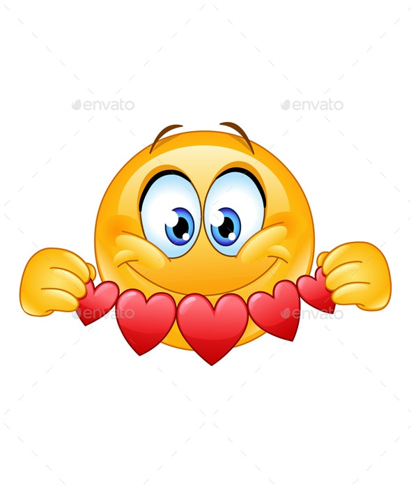 Emoticon with Heart Banner - People Characters