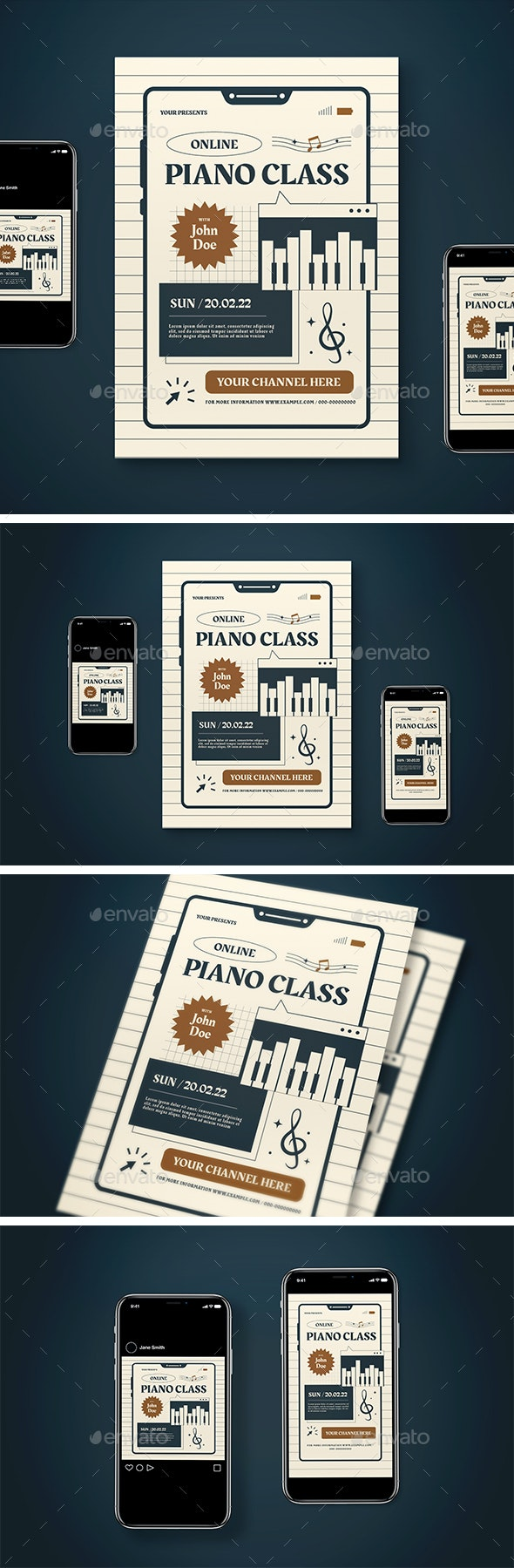 Online Piano Class Flyer Pack - Flyers Print Templates