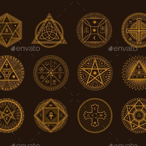 Occult Sign Alchemy and Astrology Symbol Set on