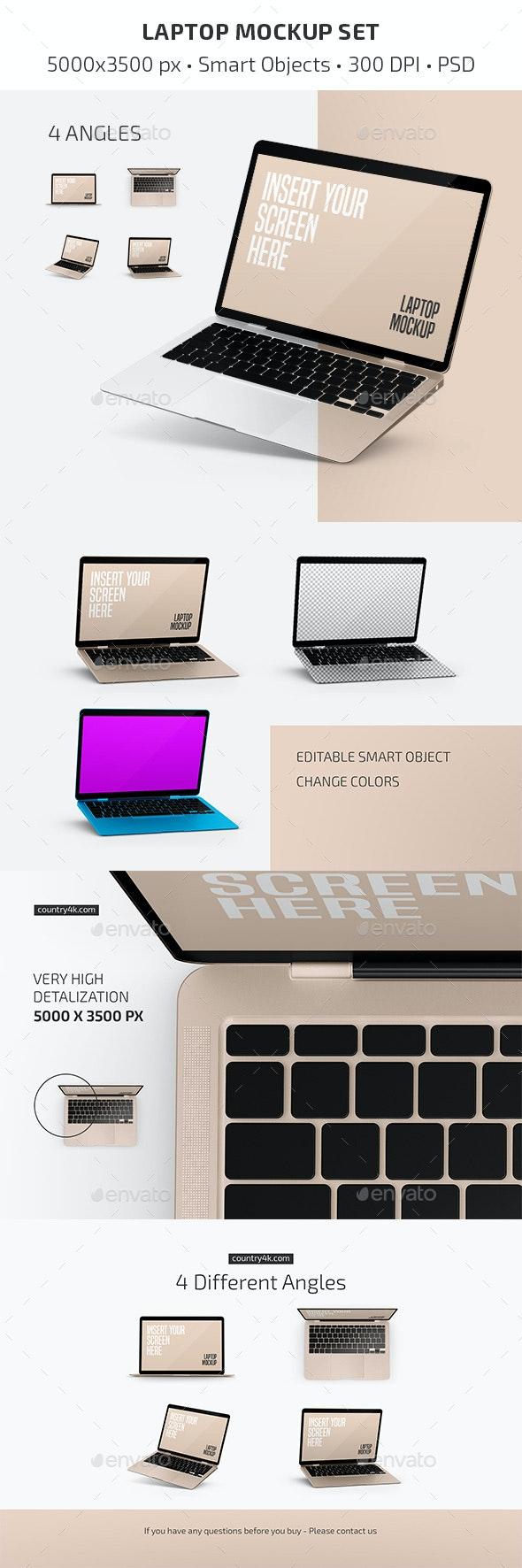 Laptop Mockup Set - Laptop Displays
