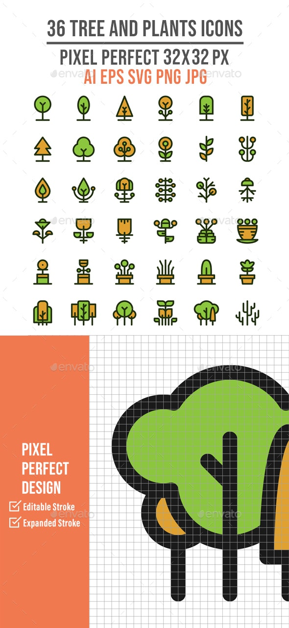 36 Tree and Plant Flat Line Icons - Miscellaneous Characters