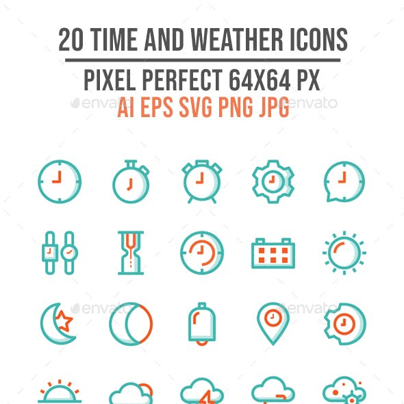 20 Time and Weather Outline Icons