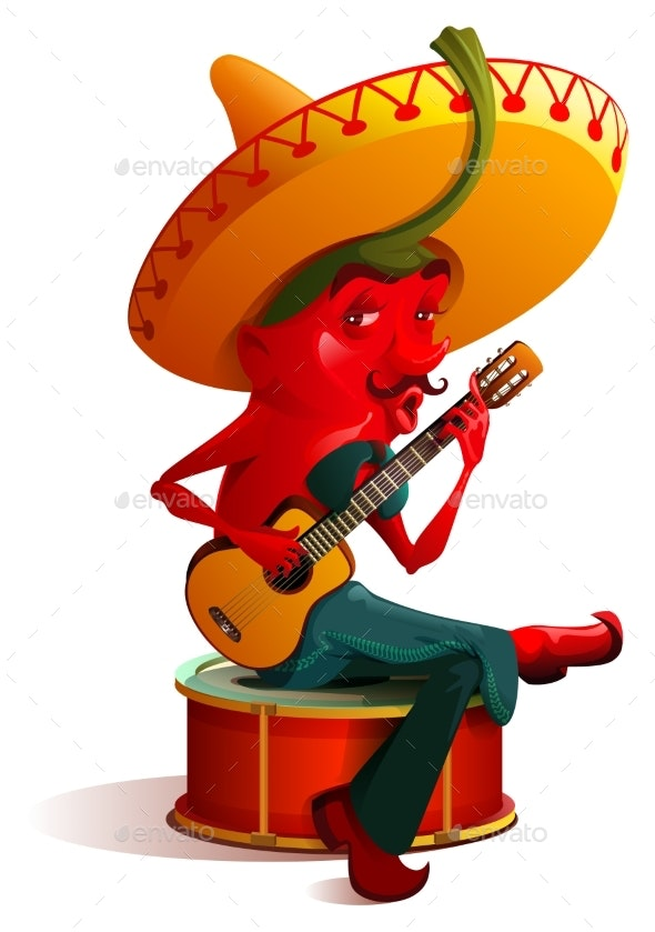 Mexican Chili Pepper Character Sombrero Plays - Seasons/Holidays Conceptual