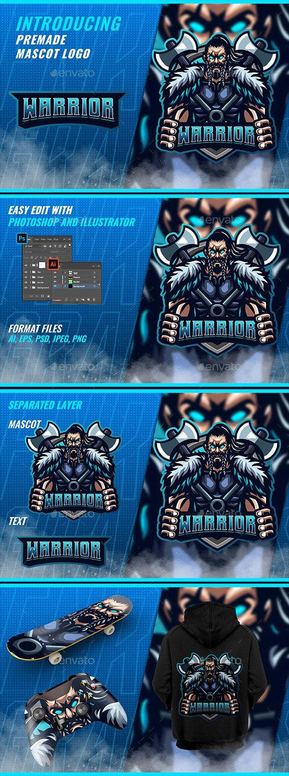Blue Viking Axe - Mascot Esport Logo - Humans Logo Templates