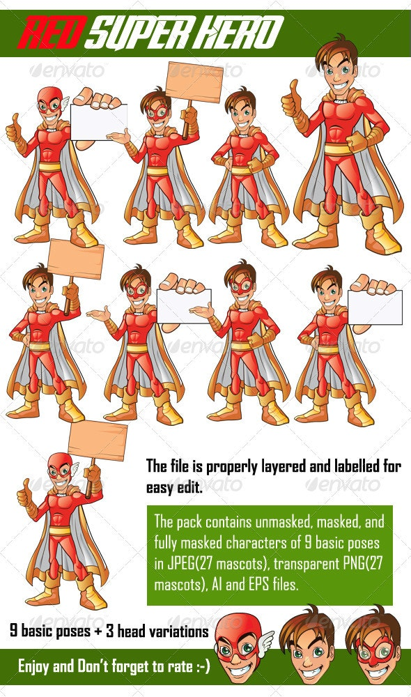 Red Super Hero - People Characters