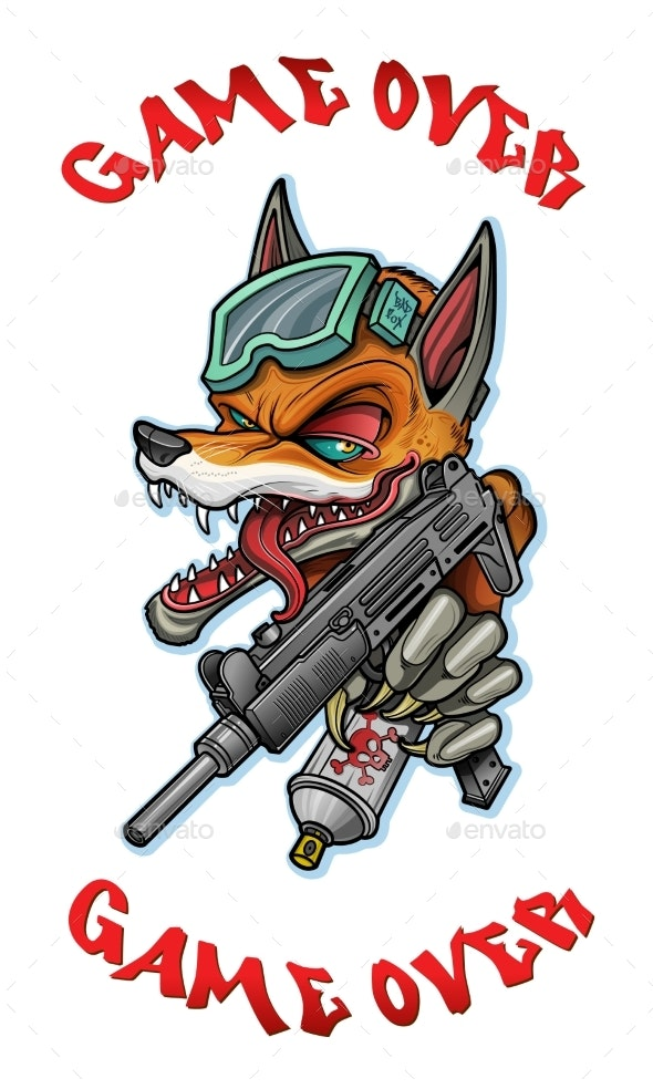 A Fox with a Machine Gun in His Paws Draws - Animals Characters