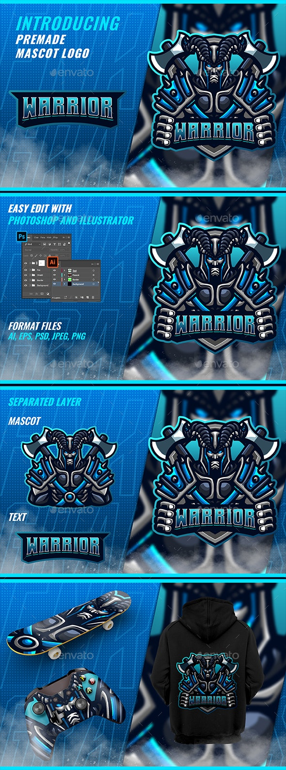 Hell Knight - Mascot Esport Logo - Humans Logo Templates