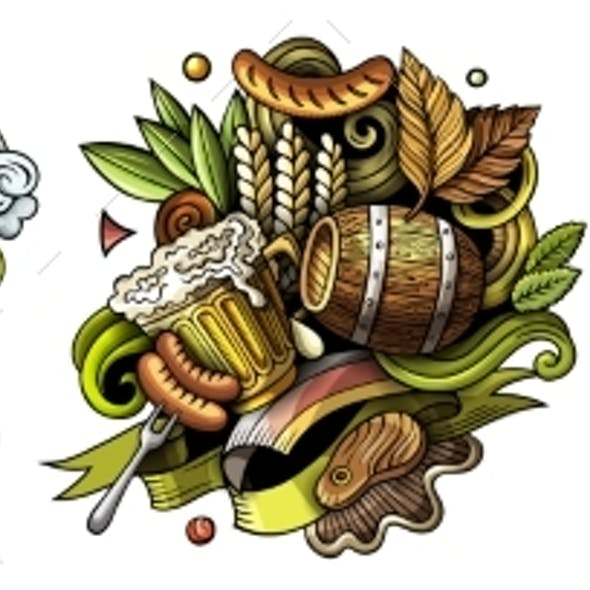 Germany Cartoon Vector Doodle Designs Set