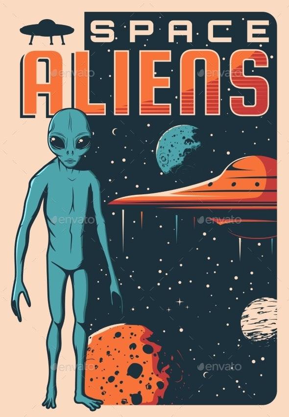 Space Aliens UFO Spaceship Retro Vector Banner - Characters Vectors