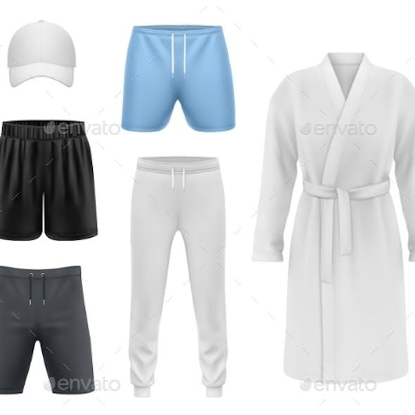 Men Clothing Realistic Mockups Sport Fitness Wear