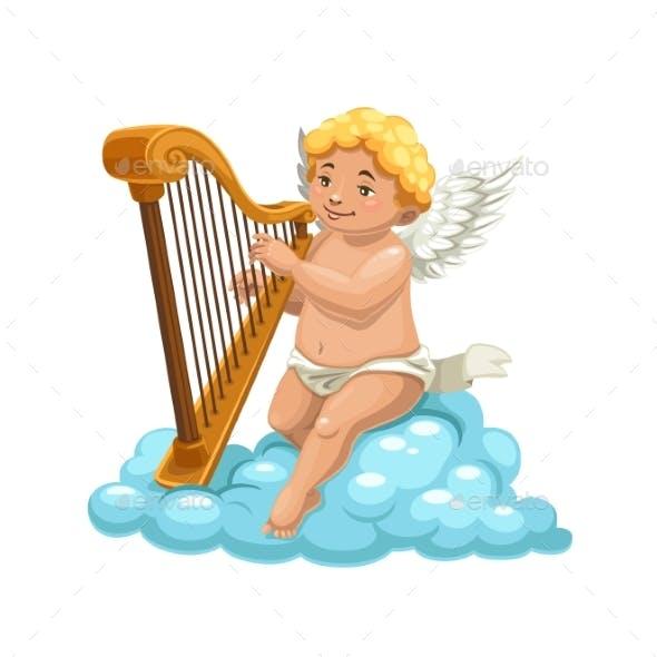 Cartoon Cupid Angel Playing Harp on Cloud