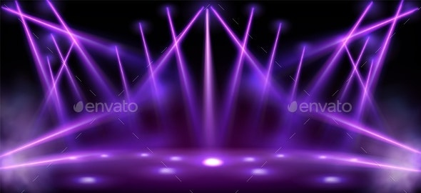 Stage Lights Spotlight Beams with Smoke on Floor - Backgrounds Decorative