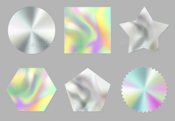 Holographic Stickers Hologram Labels or Emblems - Objects Vectors