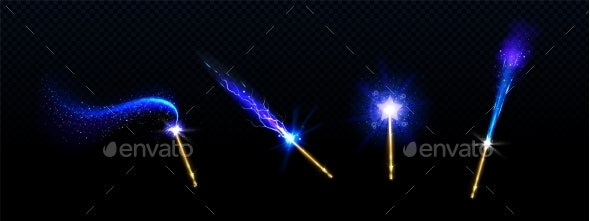 Magic Wands with Blue Star and Glow Sparkle Trails - Objects Vectors