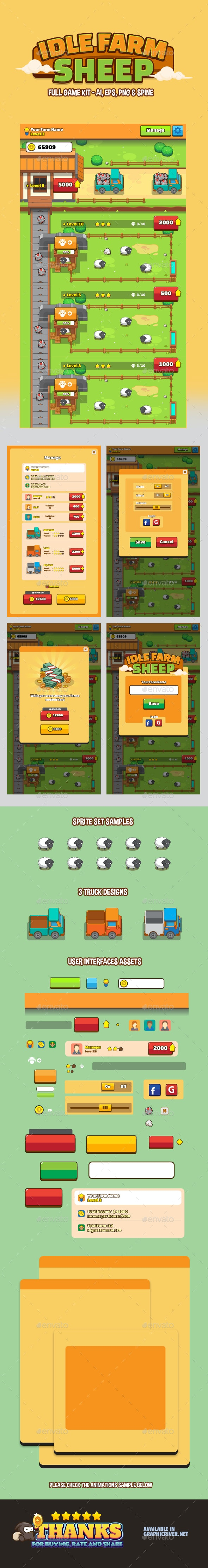 Idle Game Farm Sheep - Game Kits Game Assets