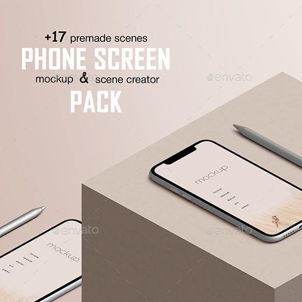 Phone Screen Device App Mockup and Scene Creator Pack