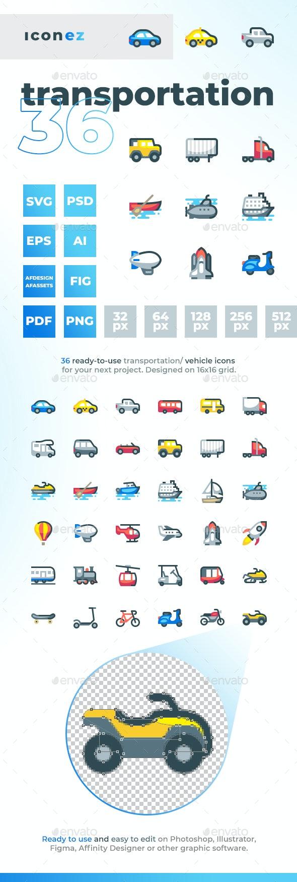 Iconez - Transportation Icons - Objects Icons