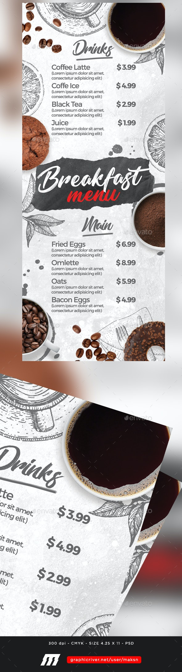 Breakfast Menu - Food Menus Print Templates