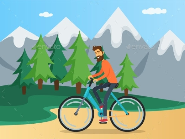 Guy is Riding in Mountains - Sports/Activity Conceptual