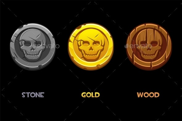 Pirate Black Mark Gold Wooden Stone Coins - Miscellaneous Vectors