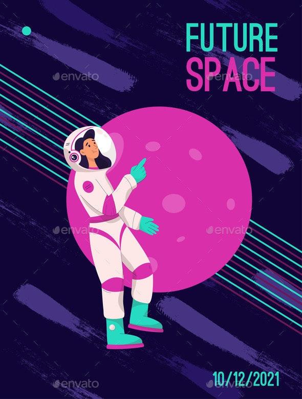 Vector Poster of Future Space Concept - Abstract Conceptual