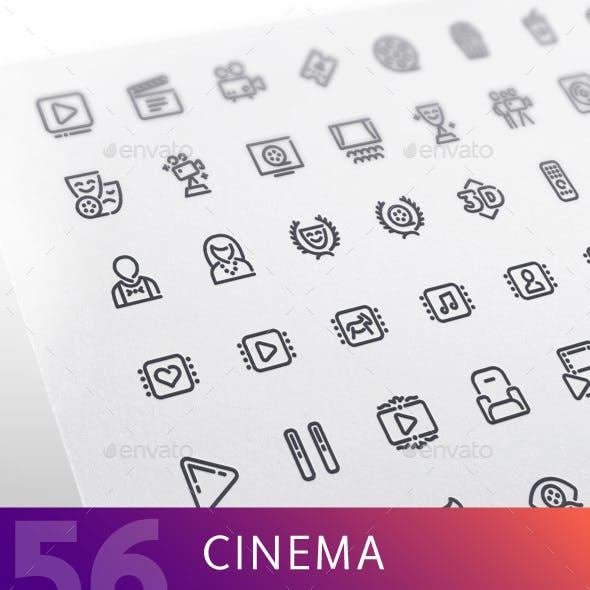 Cinema Line Icons Set