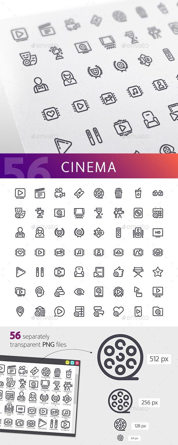 Cinema Line Icons Set - Media Icons