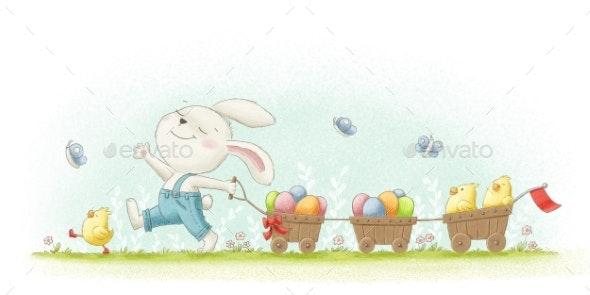 Rabbit Pulls Cart - Animals Illustrations