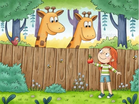 Girl Visits Giraffes - Animals Illustrations