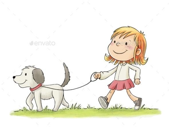 Girl Walking Her Dog - People Illustrations