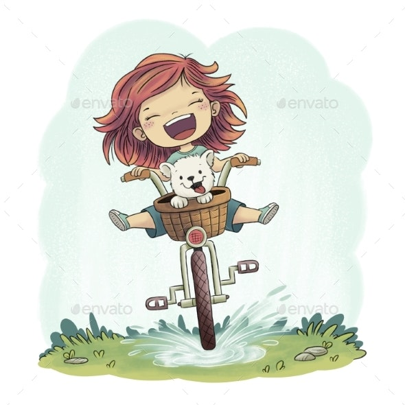 Girl Rides A Bike - People Illustrations