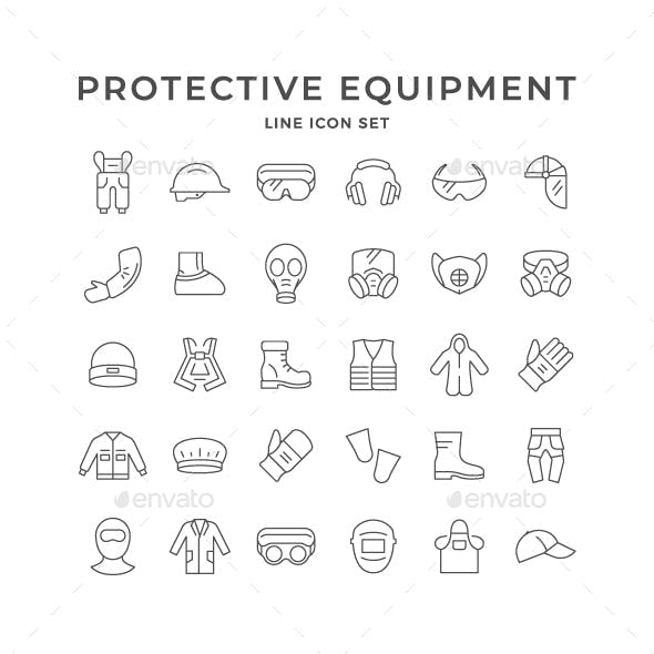 Set Line Icons of Personal Protective Equipment