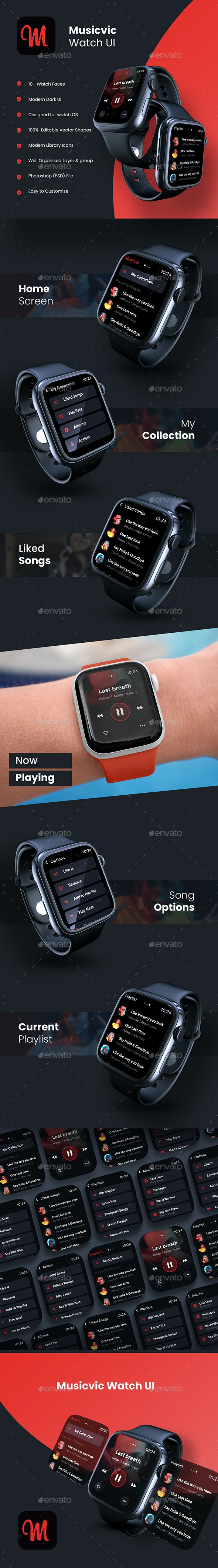 Music Watch App UI Kit | Musicvic Watch - User Interfaces Web Elements