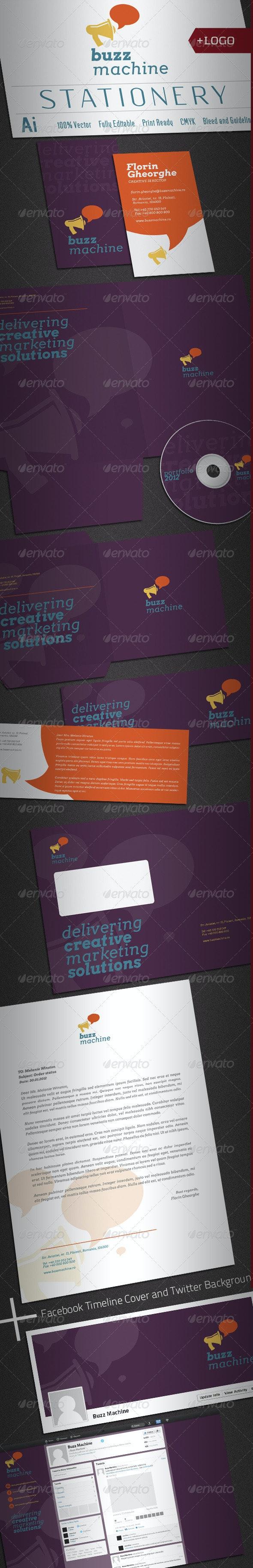 Buzz Machine Stationery V2 - Stationery Print Templates