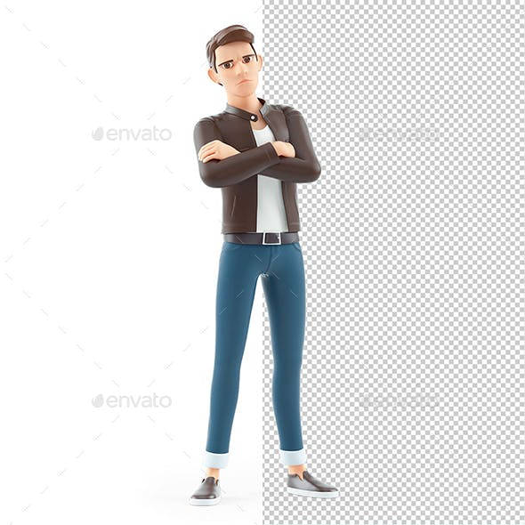 3D Angry Cartoon Man Arms Crossed