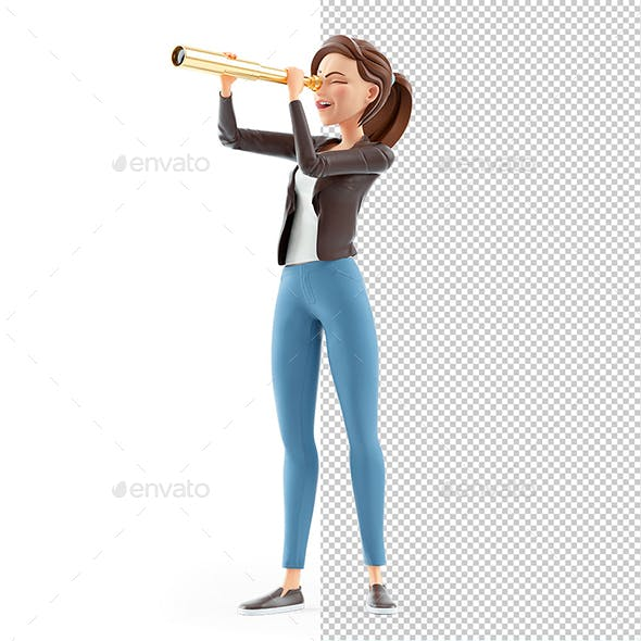 3D Cartoon Woman Looking Through Telescope