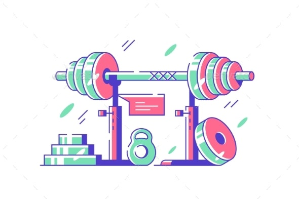 Fitness Equipment and Machines for Body Workout - Sports/Activity Conceptual